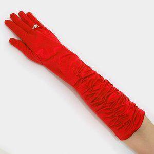 Accessories - Dressy satin ruffle Evening bridal gloves